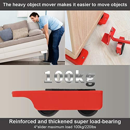 m/áximo para 100 kg GEMITTO Juego de ruedas elevadoras de muebles pesados para muebles y ruedas giratorias de 360 grados 4 paquetes