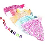 Long Love Handmade Gorgeous Barbie Doll Party Clothes Dress x5 & Shoes x 10 Gift Free, Colorful