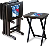 Imperial Officially Licensed NHL Merchandise: Foldable Wood TV Tray Table Set with Stand, New York Rangers