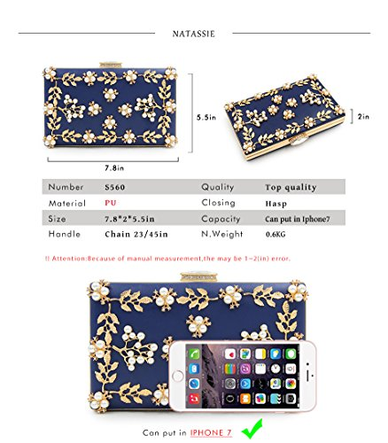 Purses Clutches Women Female Bag Wedding Blue Clutch Fashion Beaded Evening Bags aOawzCSq