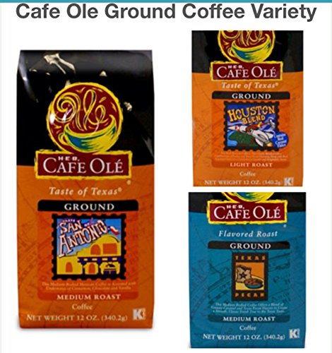 Cafe Ole GROUND Coffee Variety Pack San Antonio; Houston and Texas Pecan 12 oz. (Pack of -