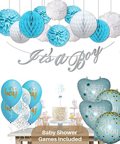 Baby Shower Decorations for Boy and Games - 47 Pcs Baby Shower Party Supplies for Boy]()