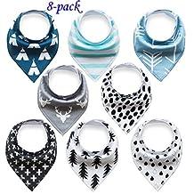 Baby Bandana Drool Bibs Organic 8 Pack for Boys and Girls 100% Absorbent Soft Cotton Bandana Baby Bibs for Teething Feeding Baby Shower Gift