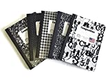 Black & white Composition Notebook Wide Ruled value pack, Bundle includes 5 items, matching color notebooks.