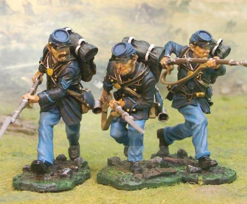 American War Accessories Civil (American Civil War Union Infantry 3 Piece Advancing Set Collectors Showcase Toy Soldiers Metal Painted CS00415)