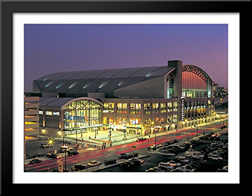 Bankers Life Fieldhouse 36x28 Large Black Wood Framed Print Art - Home of the Indiana Pacers