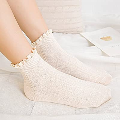 Maivasyy 5 paires de chaussettes dentelle Retro Tube Femme Automne et Hiver dentelle noire bas de coton, blanc
