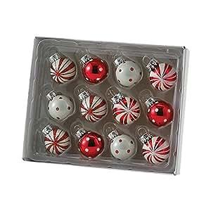 Kurt Adler Polka Dot And Peppermint Stripe Ball Ornament