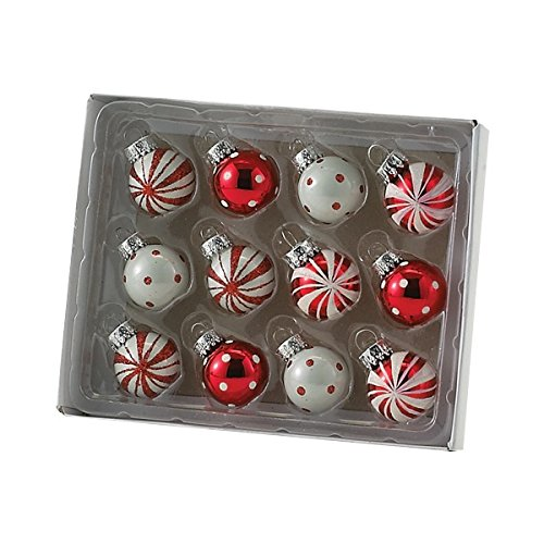 Kurt Adler Polka Dot And Peppermint Stripe Ball (Peppermint Ornaments)