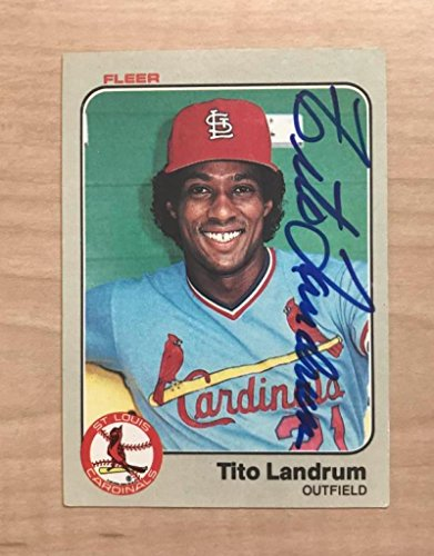 1983 St Louis Cardinals (TITO LANDRUM ST. LOUIS CARDINALS SIGNED AUTOGRAPHED 1983 FLEER CARD #13 W/COA)