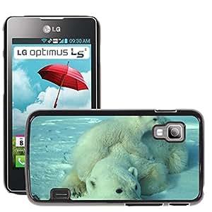 Etui Housse Coque de Protection Cover Rigide pour // M00110577 Madre de oso polar Cub Blanco Ártico // LG Optimus L5 II Dual E455 / E460