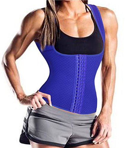 Waist Trainer Thermal Vest, Ursexyly Fashion Slimming Bodysuit for Sports Weight Loss (L, Blue)