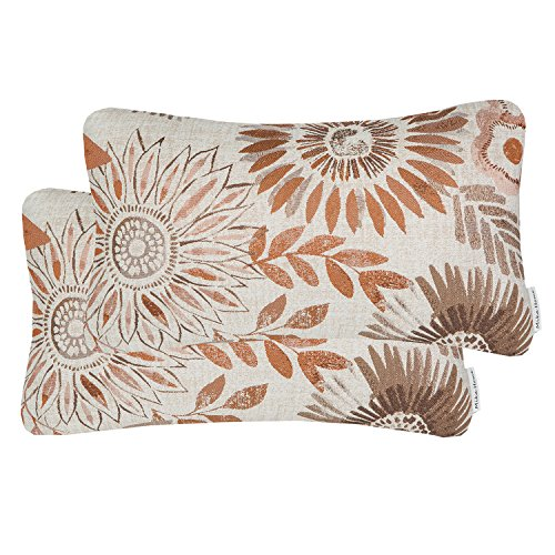 Mika Home Pack of 2 Decorative Oblong Rectangular Throw Pillow Cover Cushion Cases for Chair,Sunflower Pattern,12x20 Inches, Brown Cream ()