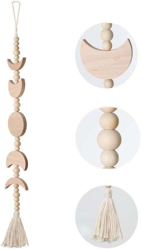 Boho Chic Home Decor Moon Decor Wall Decorations, Moon Phase Wall Hanging Wood Bead Garland with Tassel