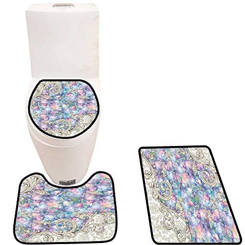 Non-Slip Bathroom Toilet Mat Cream Color Baroque Bathroomatis for Special Collecti Nouveau Desig 3 Pieces Microfiber ()