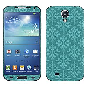 Skin Decal for Samsung Galaxy S4 - Victorian Pattern Teal Blue