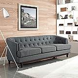 Modern Contemporary Urban Design Living Lounge Room Sofa, Grey Gray, Fabric