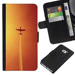 Ihec-Tech / Flip PU Cuero Cover Case para Samsung Galaxy S6 EDGE SM-G925 - Aircraft maneuvers