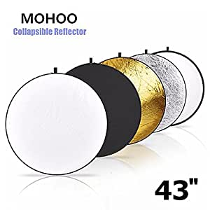 MOHOO 43-inch / 110cm 5-in-1 Light Reflector Collapsible Round Multi Disc Light Reflector for Photography Studio Props(Translucent/ Silver/ Gold/ White/ Black)