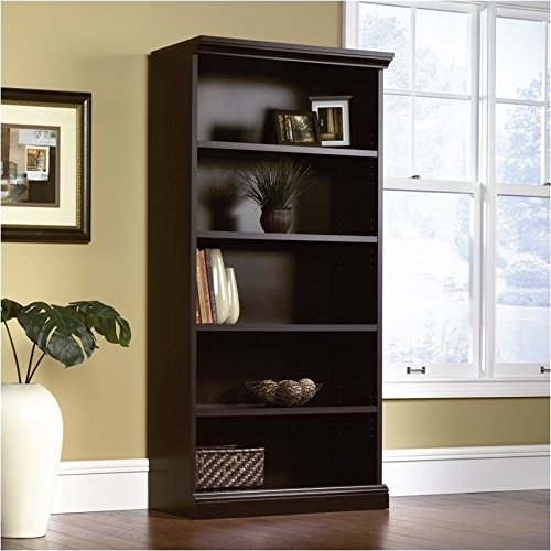 Pemberly Row Library 5 Shelf Bookcase in Estate Black -