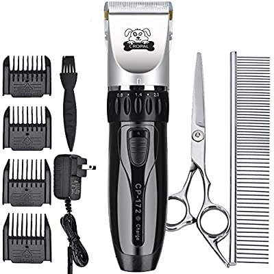 Cropal Pet Grooming Clippers, Quite Rechargeable Dog and Cat Grooming Clippers Cordless for Small Medium & Large Dogs, Cats and Other House Pets (silver/black) from CROPAL
