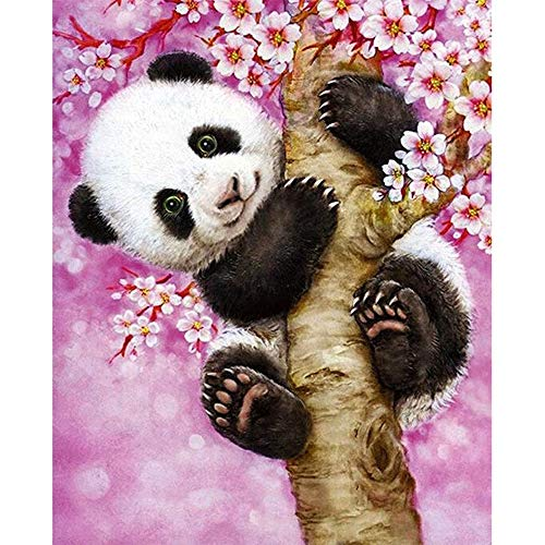 DIY 5D Diamond Painting Kit by Numbers Kits for Adult Kids, Full Drill Round Cute Panda Embroidery Painting for Home Wall Decor Painting Arts Craft(15.7