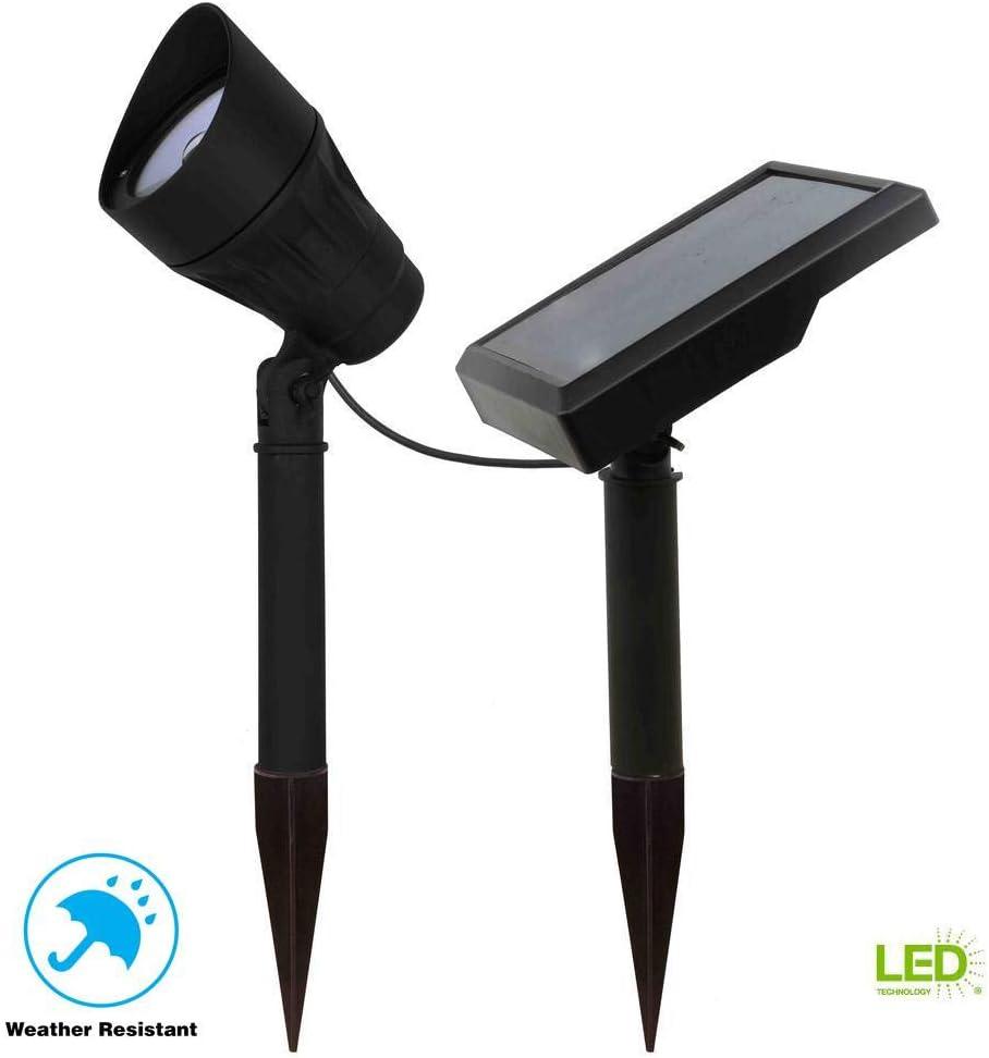 NEW HAMPTON BAY Solar Black Outdoor Integrated LED Warm White 100-Lumen Landscap