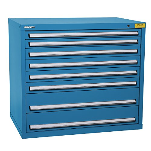 - Kennedy Manufacturing 7426UB Wide-Standard HDS 8-Drawer Countertop High Cabinet, Supply Room Storage Workstation Work Bank, Blue