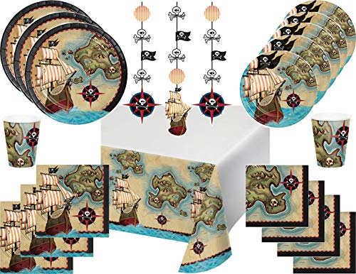 Pirates Map Party Supply Bundle for 16 Guests
