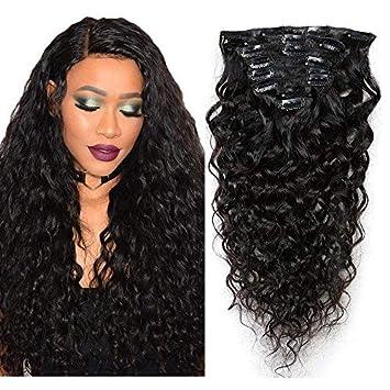 Mila 24inch 60cm Extension Clip Capelli Veri 100% Umano Capelli Brasiliano  Virgin Hair Natural Wave Ricci per Testa Piena 8pc 120gram Naturale Nero  1B  ... 799964c80a0d