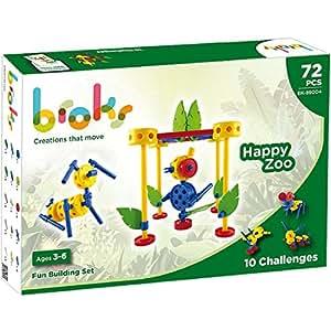 BROKS Happy Zoo - Juego de construcción educativo con 72 piezas encajables de alta calidad para niños y niñas de 3 a 6 años