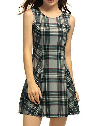 Allegra K Women Round Neck Sleeveless Plaids Mini A Line Dress M Grey