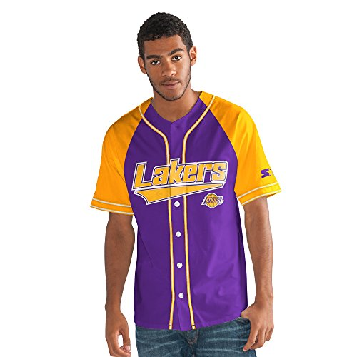 Lakers Authentic Jersey - STARTER NBA Los Angeles Lakers Men's The Player Baseball Jersey, X-Large, Purple