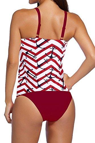 Fawnkiss Mujeres Bikini Conjunto Strappy Banded Impreso Swimsuit con Profunda V Cintura Alta Traje de baño Rojo