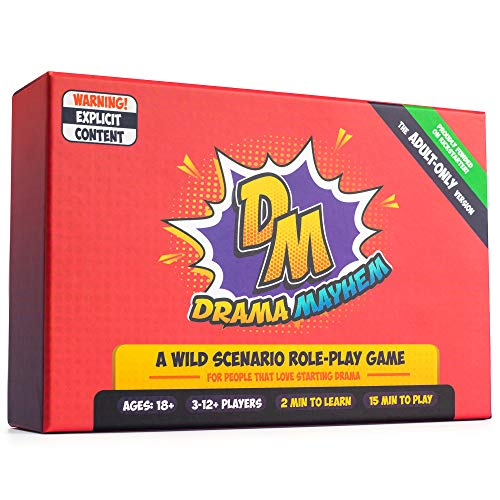 Drama Mayhem Card Game for Adults - Funny Role Playing Charades for Fun Parties Group Events and Christmas Night