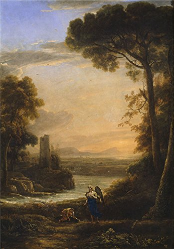The Polyster Canvas Of Oil Painting 'Lorraine Claude The Archangel Raphael And Tobias 1639 40 ' ,size: 16 X 23 Inch / 41 X 58 Cm ,this Reproductions Art Decorative Canvas Prints Is Fit For Powder Room Decor And Home Artwork And Gifts