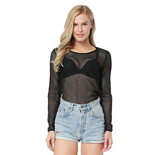 - EverChic Women's Sexy Sheer Mesh Fishnet Net Long Sleeve T-Shirt Crop Top Black L