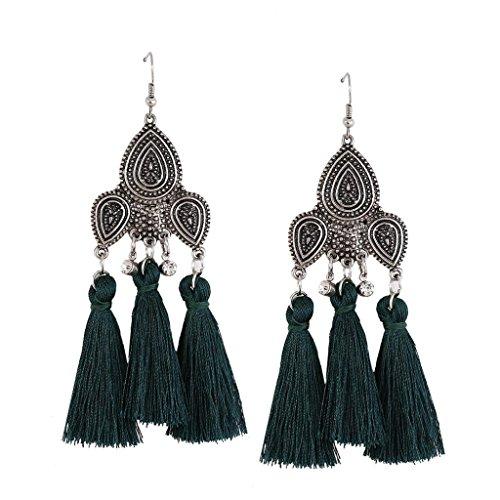 Dream 2 Reality Costumes (DZT1968 Women girl Retro Vintage Long Tassel Fringe Dangle Earrings Jewelry (Green))