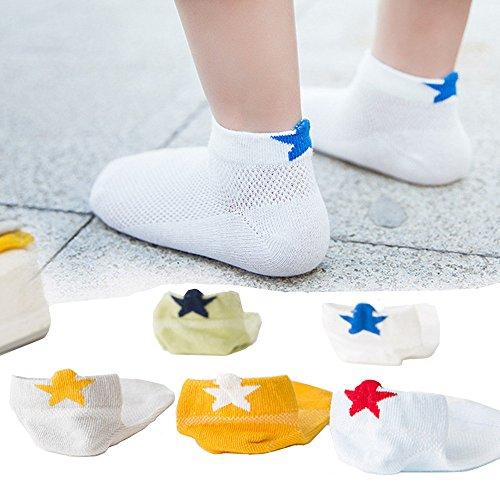 nkle Socks, MENTAIQI Mesh Breathable No-Show Crew Low-Cut Socks Hosiery for Toddler/Little Kid/Big Kid (Pack of 5) (M(15-17cm)5-7 Years) (Short Crew Kids Socks)