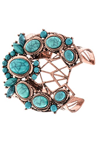 Trendy Fashion Jewelry Faux Gem Ornate Metal Cut Out Cuff Bracelet By Fashion Destination (Ornate Fashion Watch Cuff)
