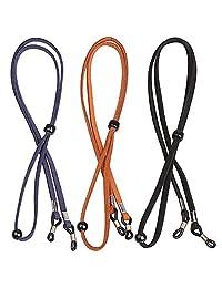 wotu 3 Pcs Eyeglass Chain, PU Leather Eyeglasses Holder Strap Adjustable Sunglass Strap Spectacles Neck Cord Retainer Lanyard