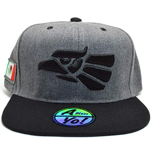 db26c42ed AblessYo Hecho En Mexico Baseball Cap Eagle Mexican Aguila Snapback Flat  Hat AYO6040 (Charcoal/Black)