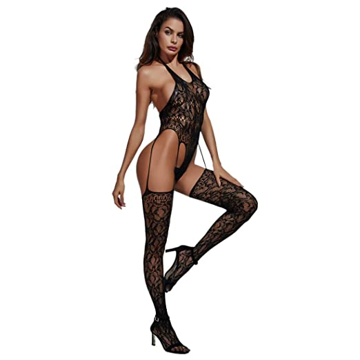 b9723bca8001ad Ashexey Women Fishnet Bodysuits Suspender Bodystocking Thigh Lingerie Black  Lace J2310