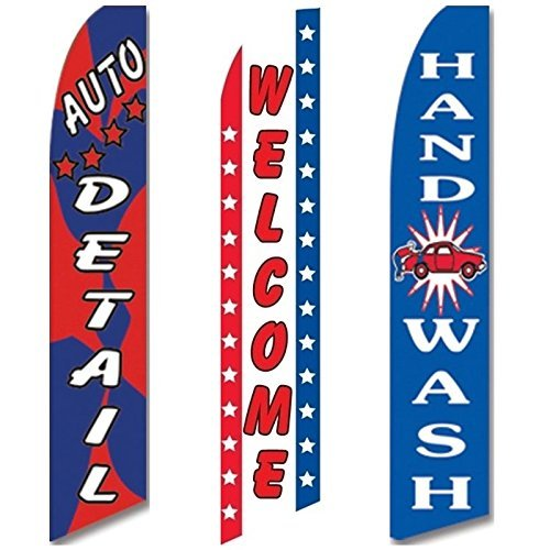 3 Swooper Flags Welcome Hand Wash Auto Detail Shop Car Wash OPEN (Best Hand Wash Car Wash)