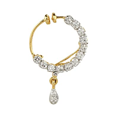 Buy Gold Finish American Diamond Small Nose Ring ND185 line at
