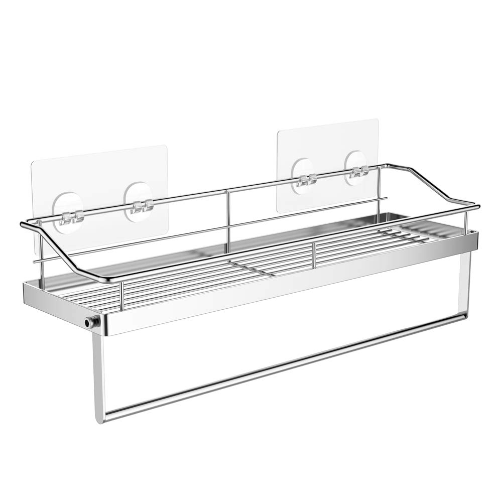 Orimade Adhesive Bathroom Shelf With Tower Bar Rail Rack Shower Caddy Kitchen Toilet Storage Organizer Wall Mounted Stainless Steel - No Drilling