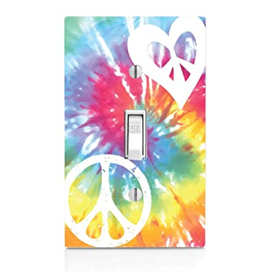 Tie Dye Peace Love Heart Tie Dye Light Switch Plate: Kitchen & Dining