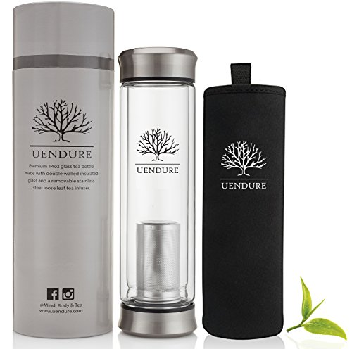 Tea Infuser & Cold Brew Coffee Maker - Tea Cup Steeper with Strainer – Travel Mug for Coffee, Loose Leaf Tea Infusers & Fruit Filter –Teapot Diffuser - Glass Water Bottle - 14oz Tumbler with Sleeve