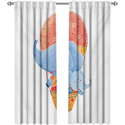 shenglv Colorful, Curtains Decoration, Mother and Baby Elephants Flying with a Hot Air Balloon Watercolor Cartoon Print, Curtains for Boys Room, W108 x L108 Inch, Multicolor
