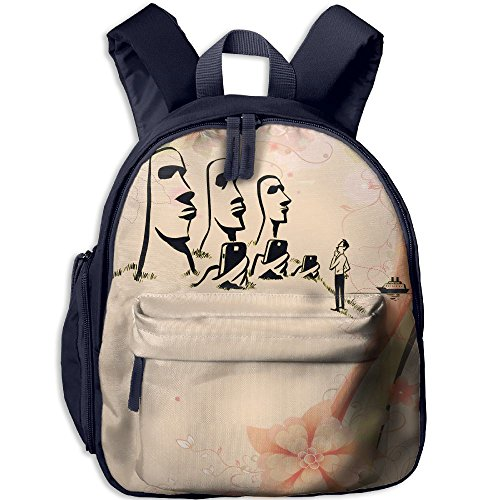 Ghagsy Easter Island Giant With Smart Phone Printed Kids Backpack School Backpack Children Backpacks Bags With Front Pockets